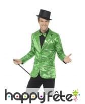 Veste verte à sequins pour homme