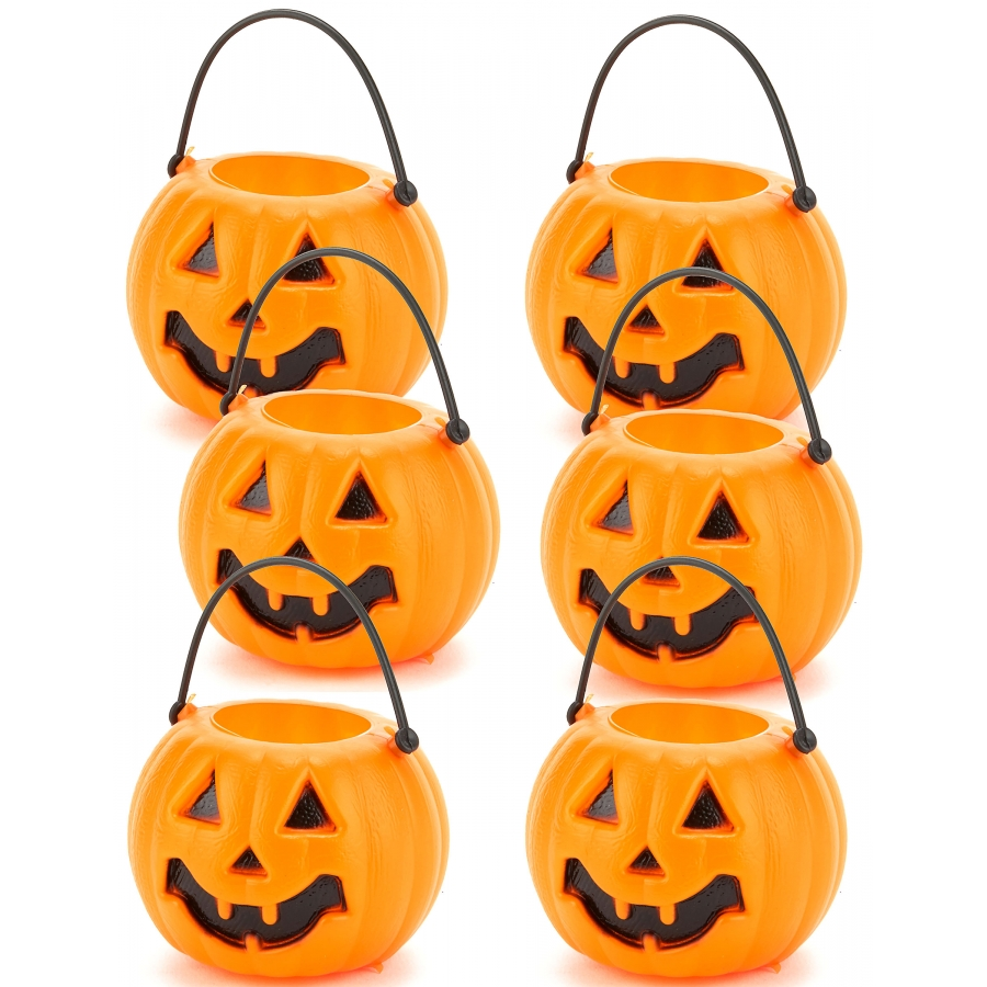 6 mini sceaux citrouilles pour bonbons d 39 halloween. Black Bedroom Furniture Sets. Home Design Ideas