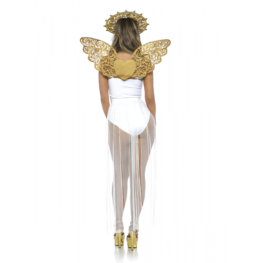 Kit ange blanc avec ailes et auréole adulte Cod.271957