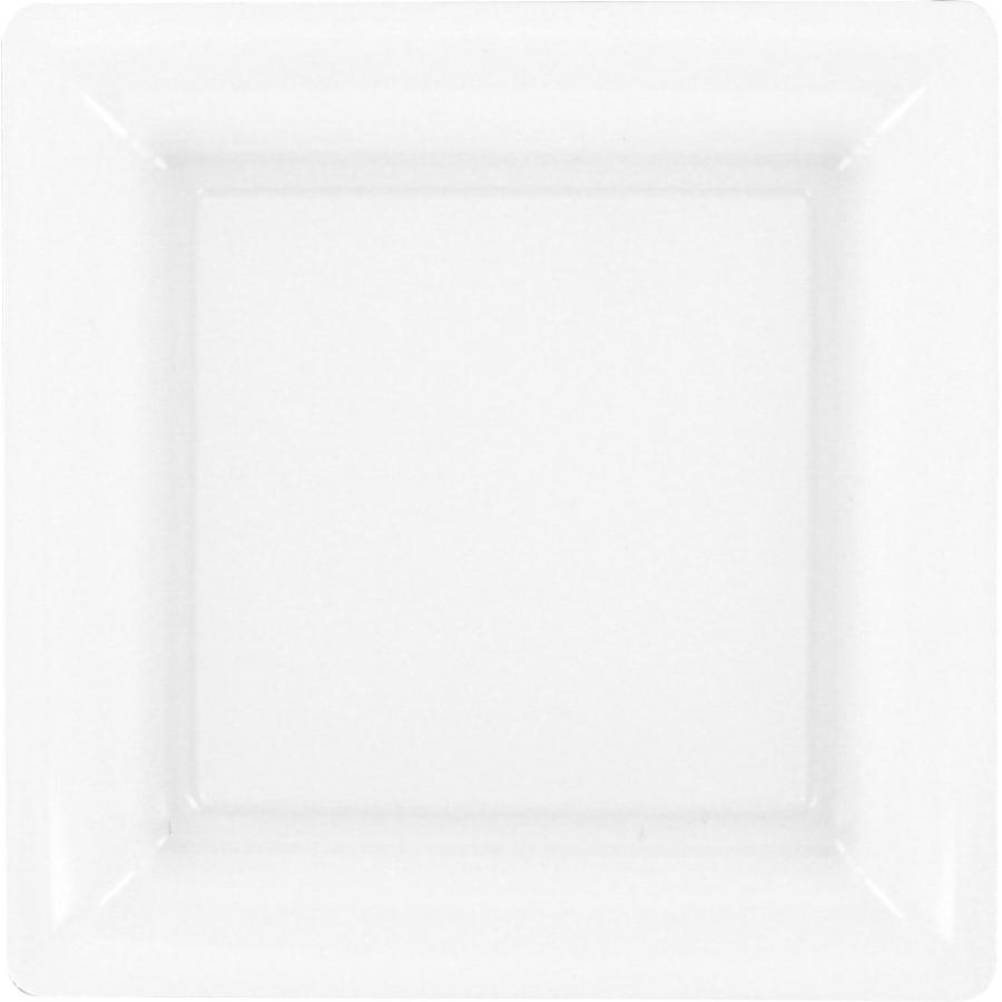 assiette en plastique carr e blanche. Black Bedroom Furniture Sets. Home Design Ideas