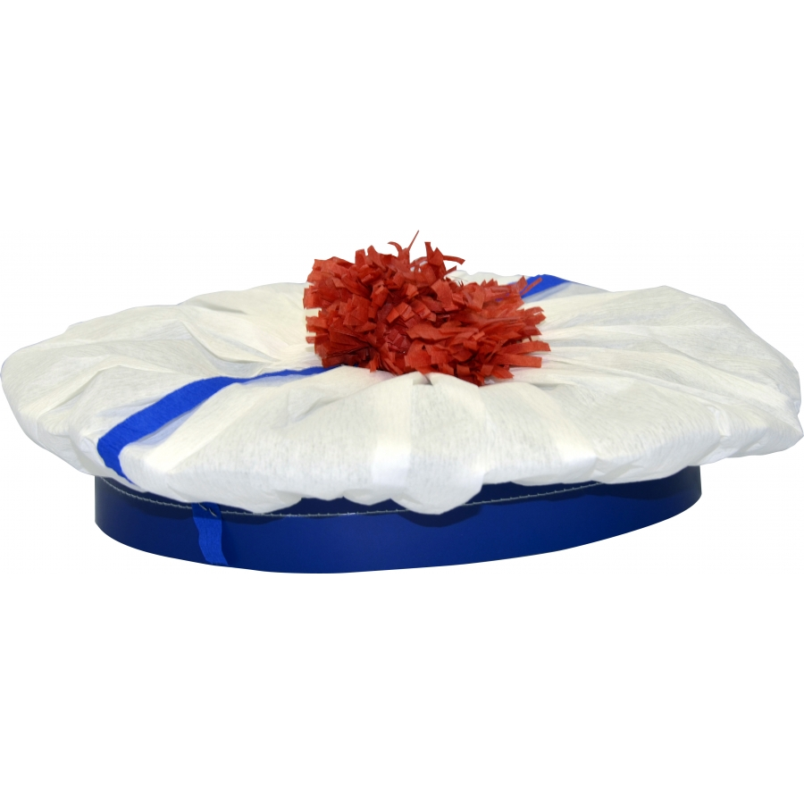 beret de marin blanc avec pompom rouge en crepon. Black Bedroom Furniture Sets. Home Design Ideas
