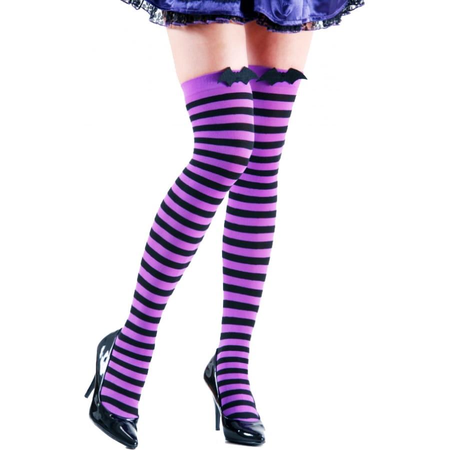 bas raye violet et noir avec chauve souris noir. Black Bedroom Furniture Sets. Home Design Ideas