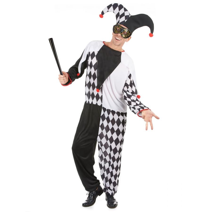 costume de bouffon blanc et noir pour adulte. Black Bedroom Furniture Sets. Home Design Ideas