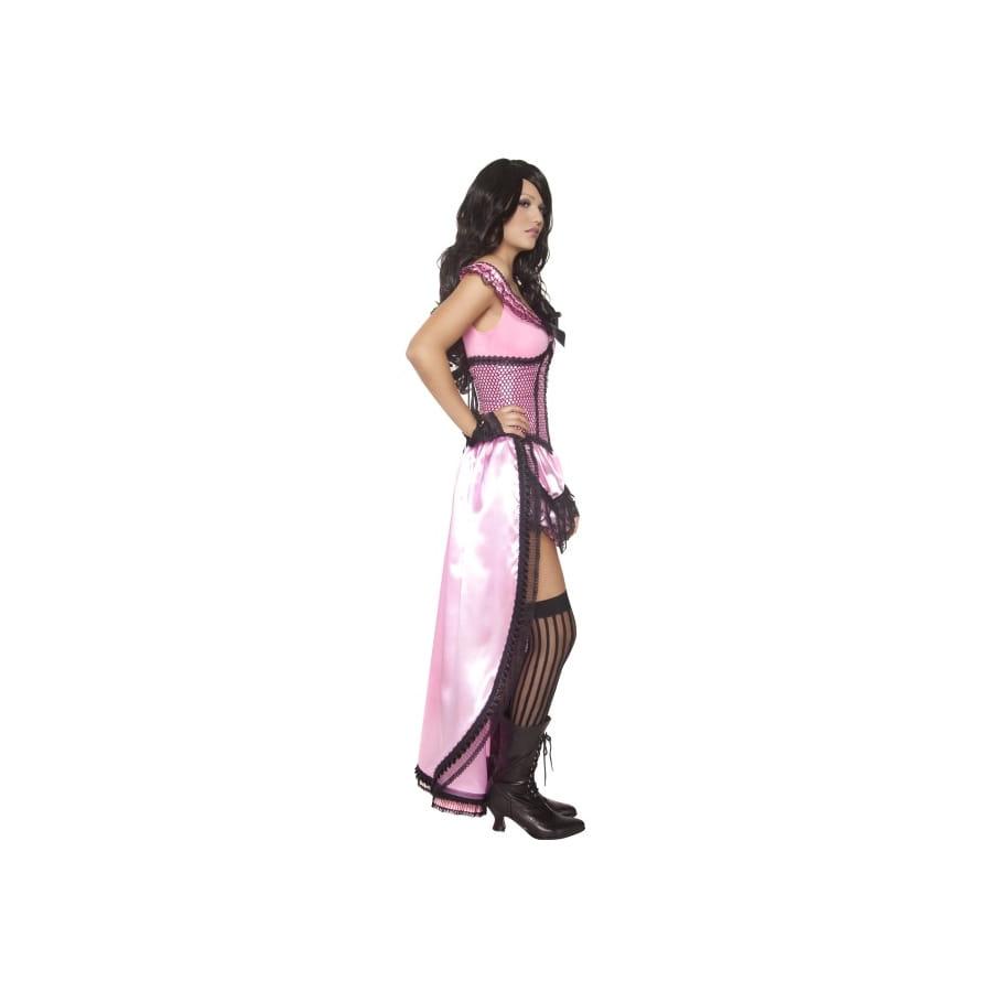 Costume de cabaret avec corset et jupe rose et noir S-3XL