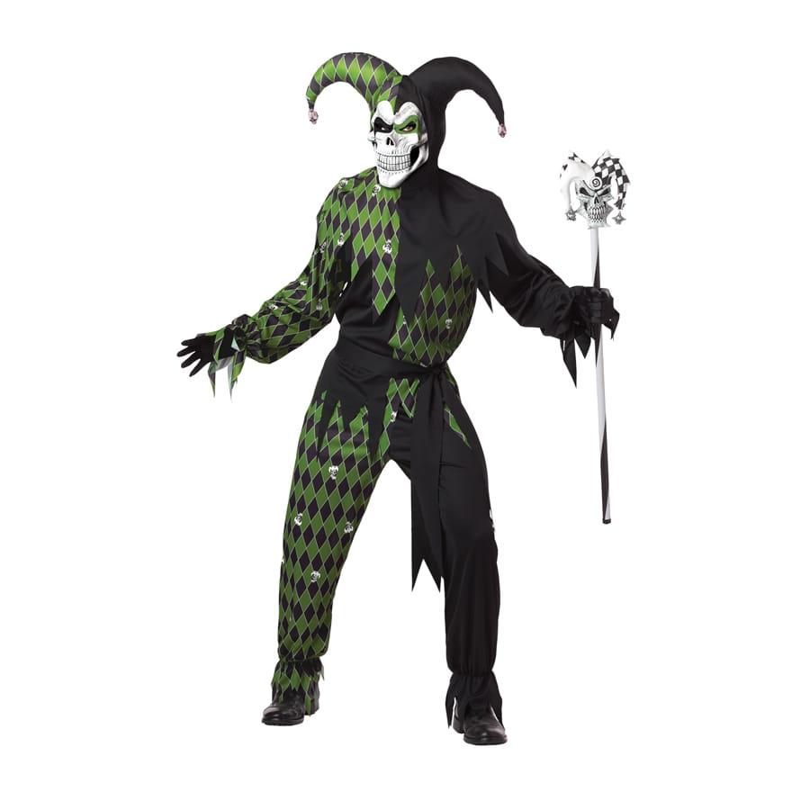 costume de fou du roi squelette noir et vert. Black Bedroom Furniture Sets. Home Design Ideas