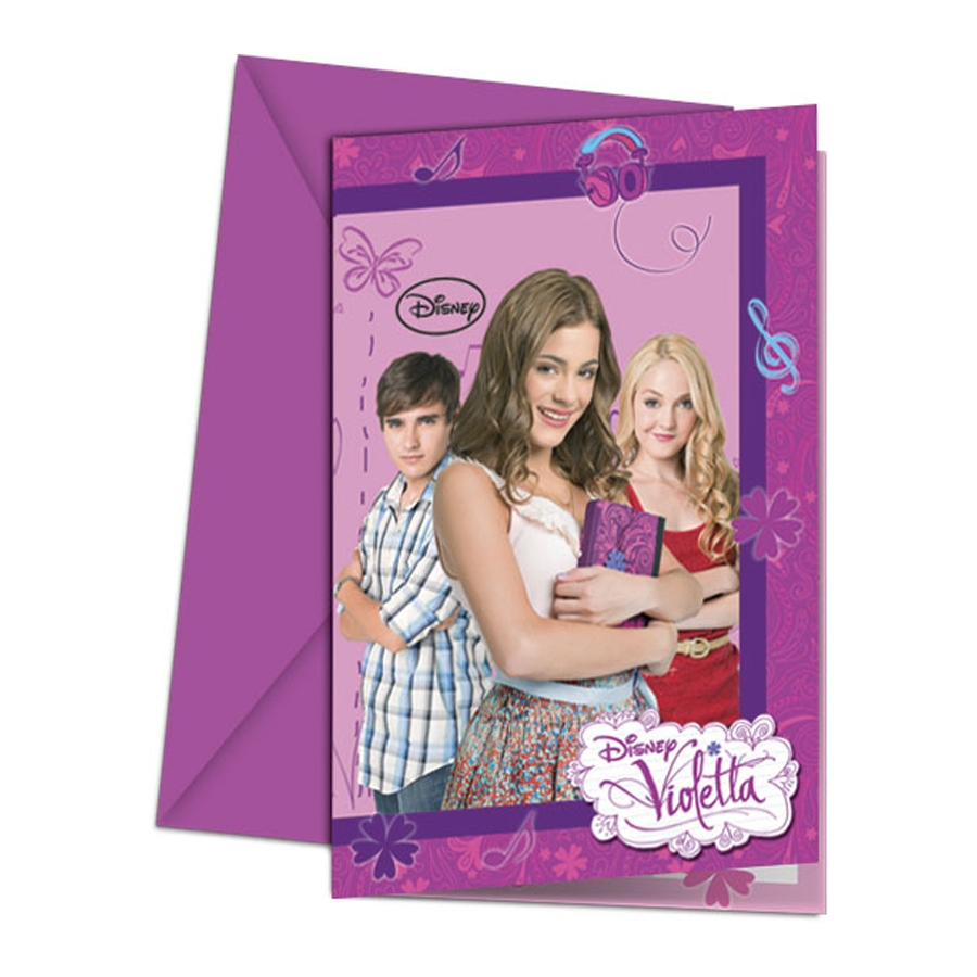 Cartes d'invitation violetta avec enveloppes