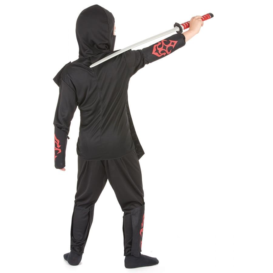 costume de ninja noir et rouge avec t te de mort. Black Bedroom Furniture Sets. Home Design Ideas