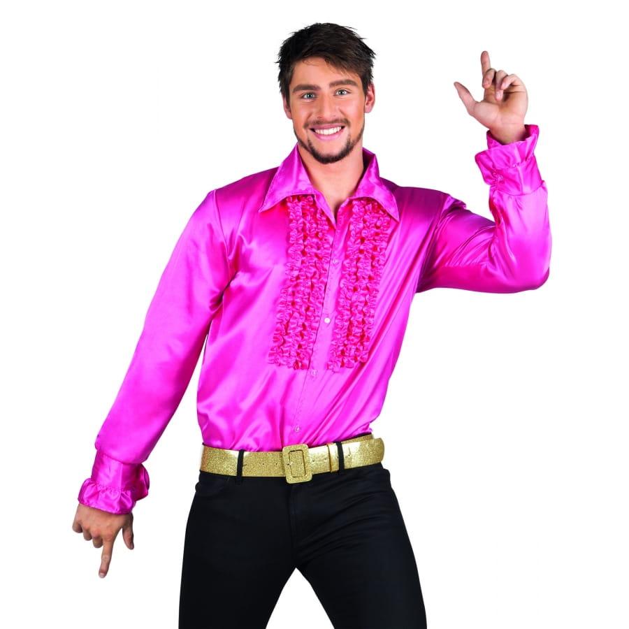 Homme Disco Satinée Chemise Pour Rose SUzqMpV