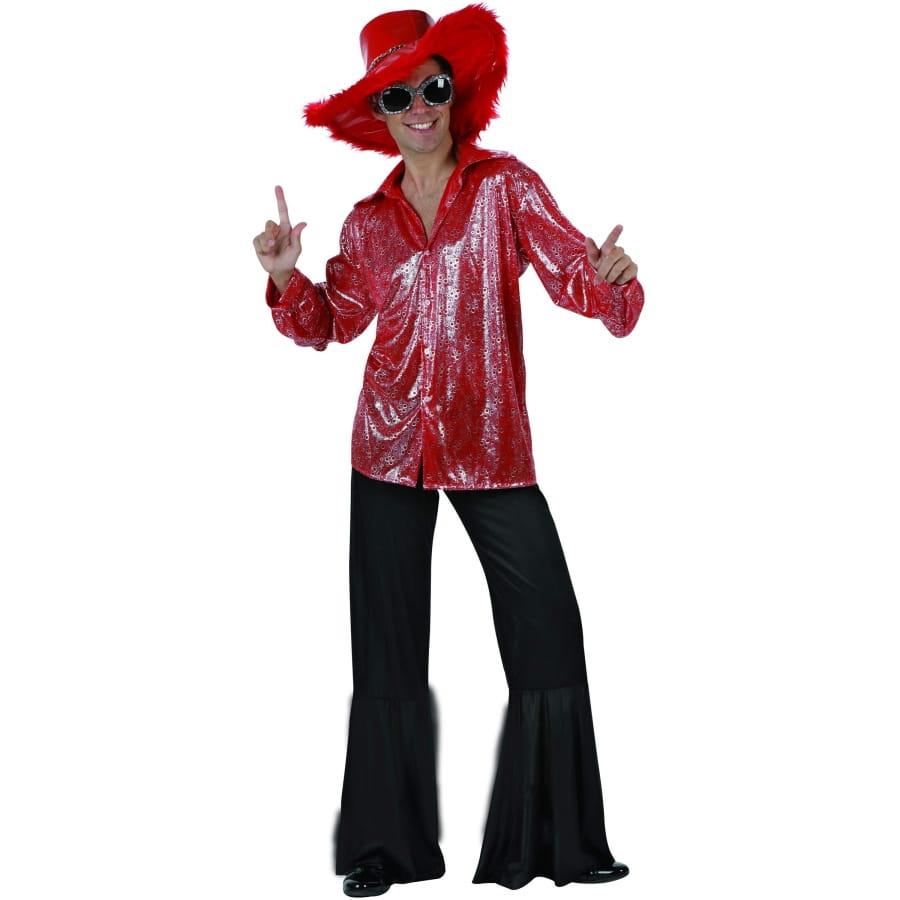 costume disco rouge brillant et argent pour homme. Black Bedroom Furniture Sets. Home Design Ideas