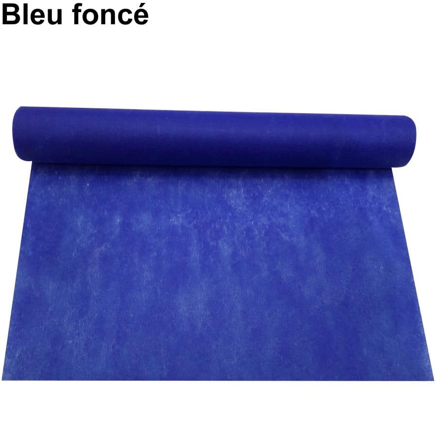 Chemin de table intiss de 30cm 5m - Nappe bleu fonce ...