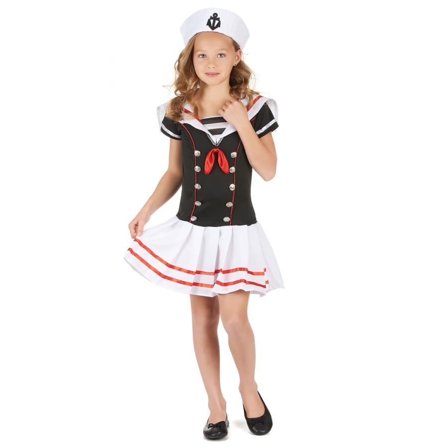 58f891a7b2662 Chapeau et robe marin noire et blanche pour fille
