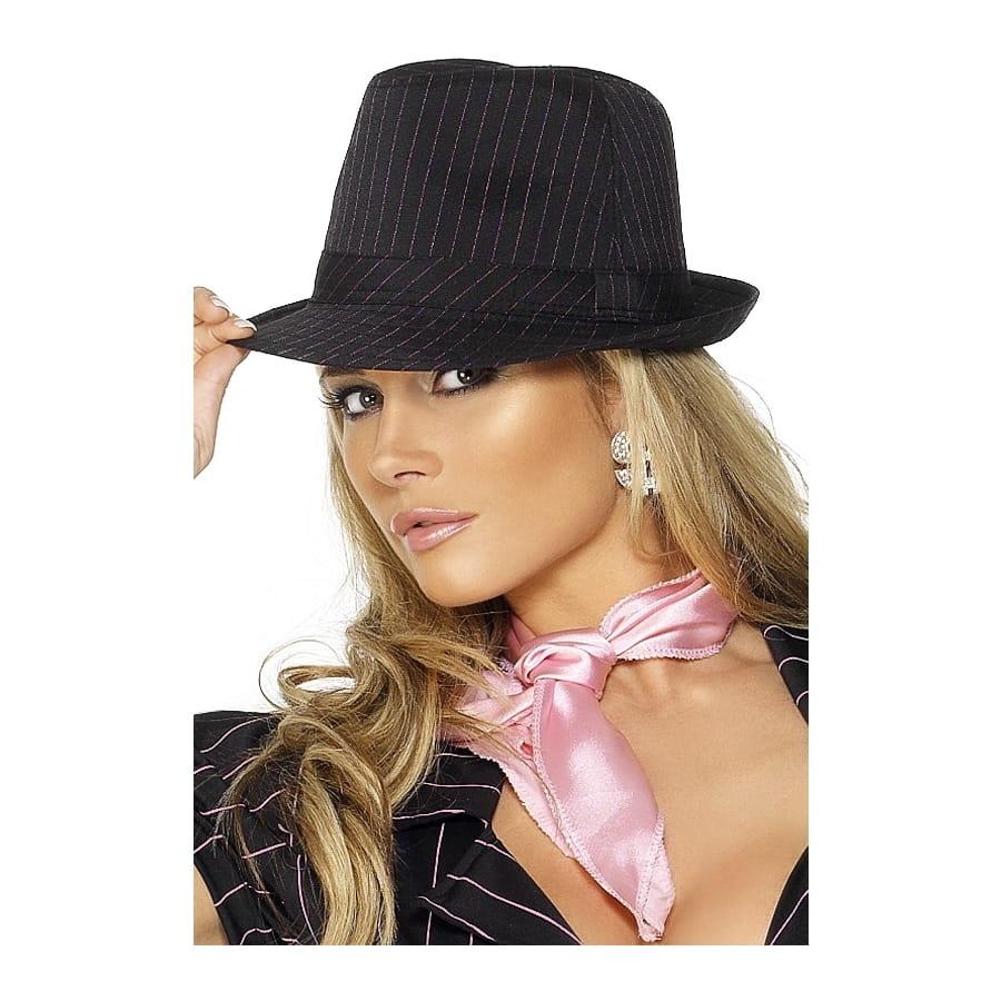 chapeau gangster femme noir rose. Black Bedroom Furniture Sets. Home Design Ideas