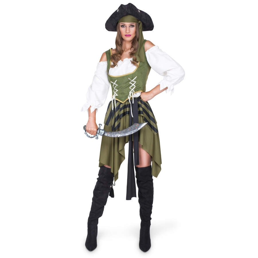 dec8eb574af Costume kaki noir de femme pirate