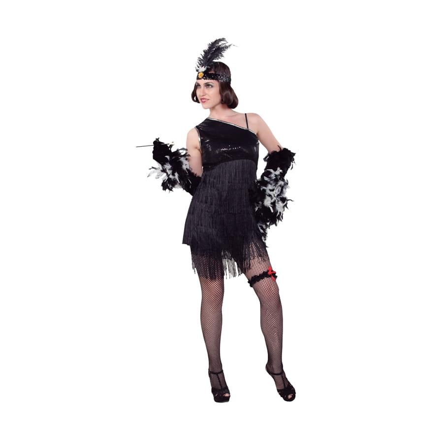 costume robe charleston noire franges. Black Bedroom Furniture Sets. Home Design Ideas