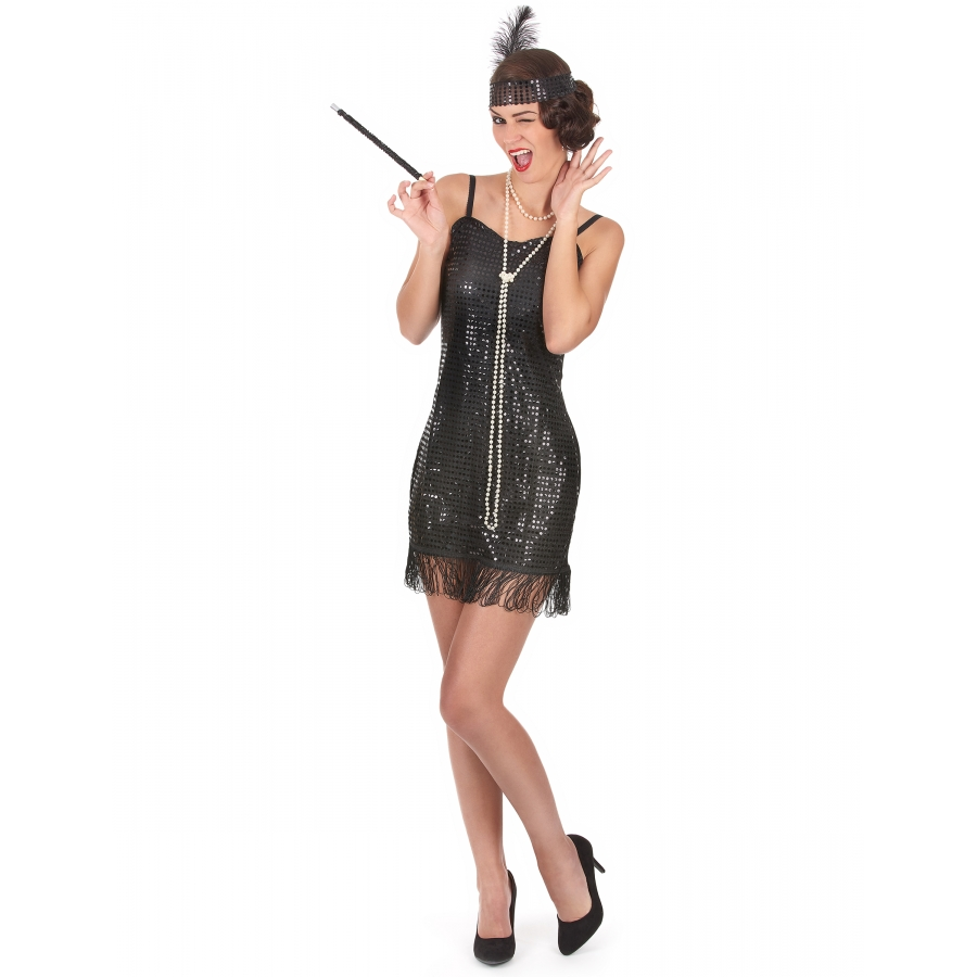 684367b9e38 Costume robe courte Charleston noire pailletée