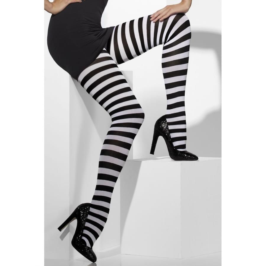 Collants rayés noir et blanc pour adulte. 3a99d901dec