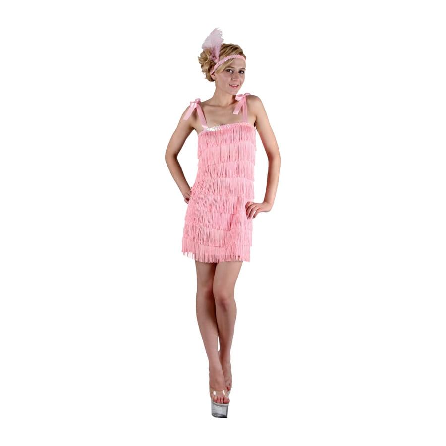 costume robe rose franges des ann es 20. Black Bedroom Furniture Sets. Home Design Ideas