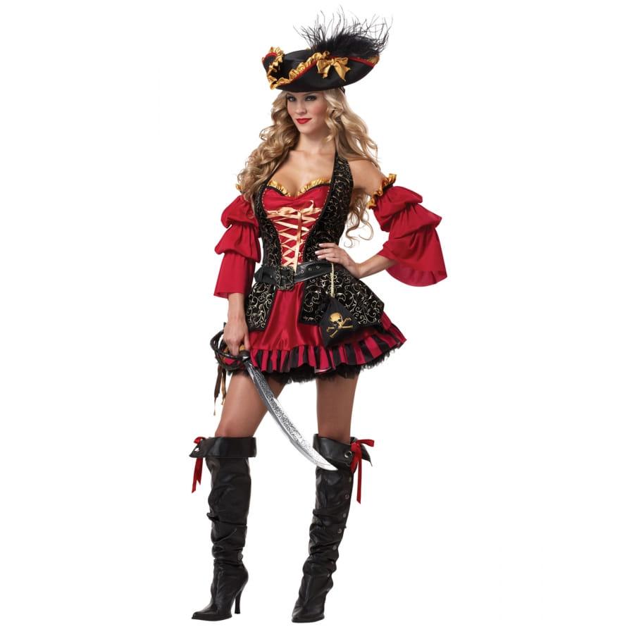 Premium Costume Robe Pirate Rouge De Noire 5LAR4j3