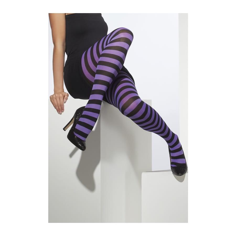 collants ray s violets et noir taille unique. Black Bedroom Furniture Sets. Home Design Ideas