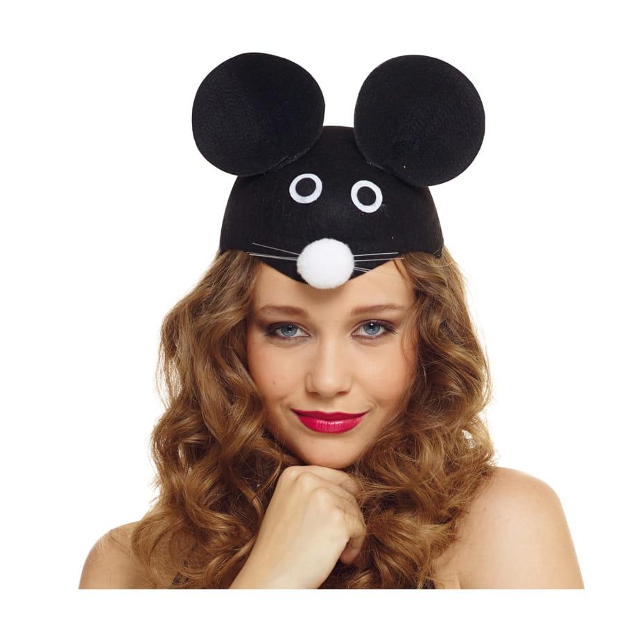 chapeau t te de souris noire pour adulte. Black Bedroom Furniture Sets. Home Design Ideas