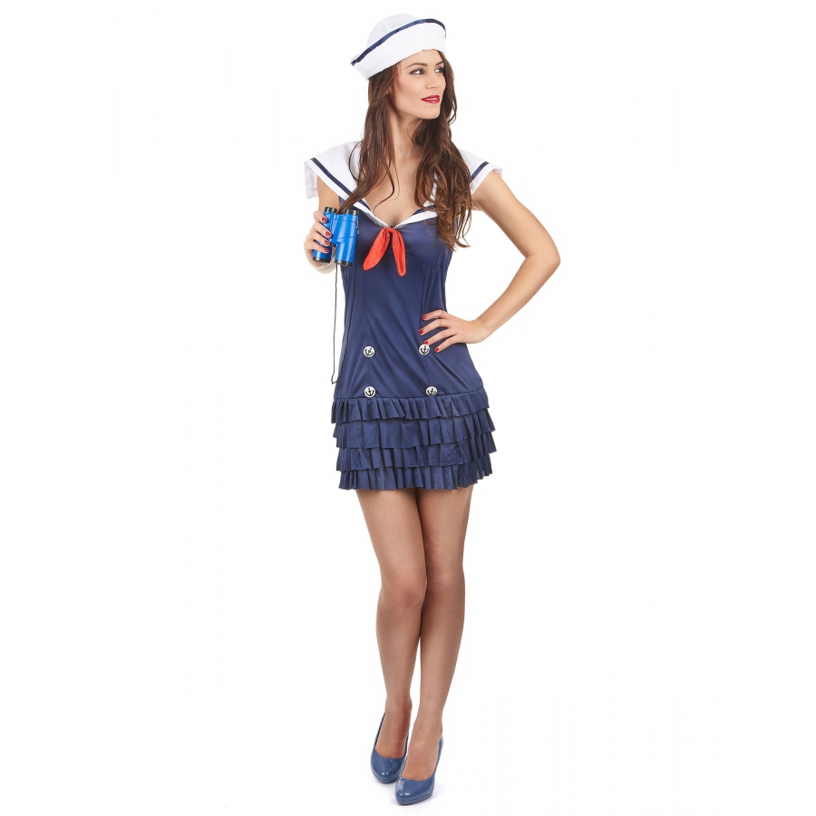 5806586a477 Déguisement femme marin robe courte et volants