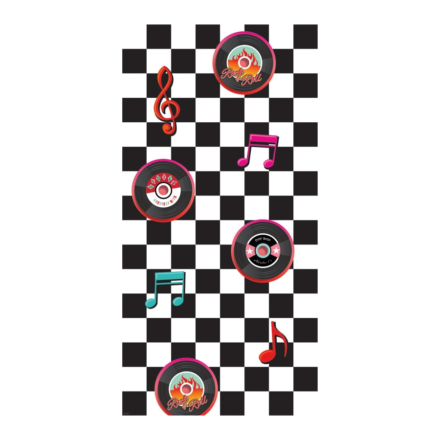 d coration murale damier blanc noir rock 39 n roll. Black Bedroom Furniture Sets. Home Design Ideas