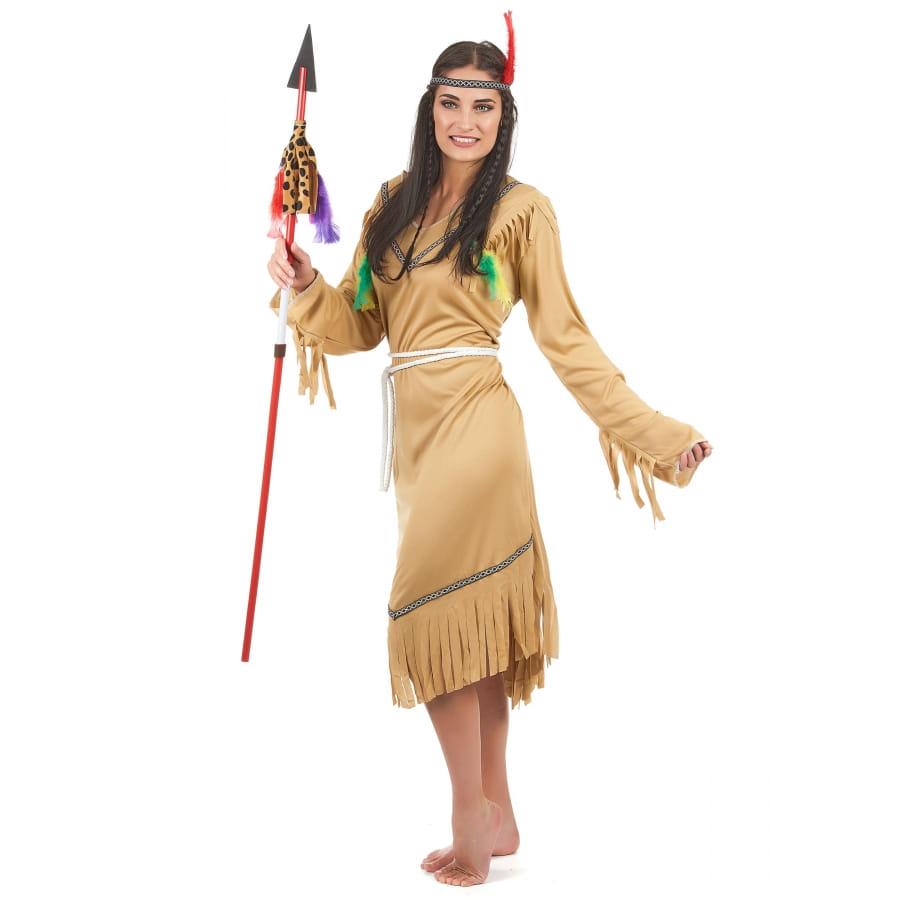 marron femme Déguisement robe d'indienne pour AFq8qBvxw
