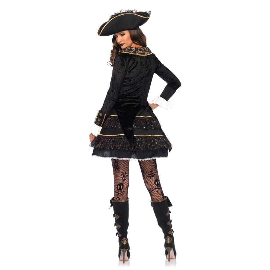 ebc62b23f08 Elegant costume de capitaine femme pirate or noir