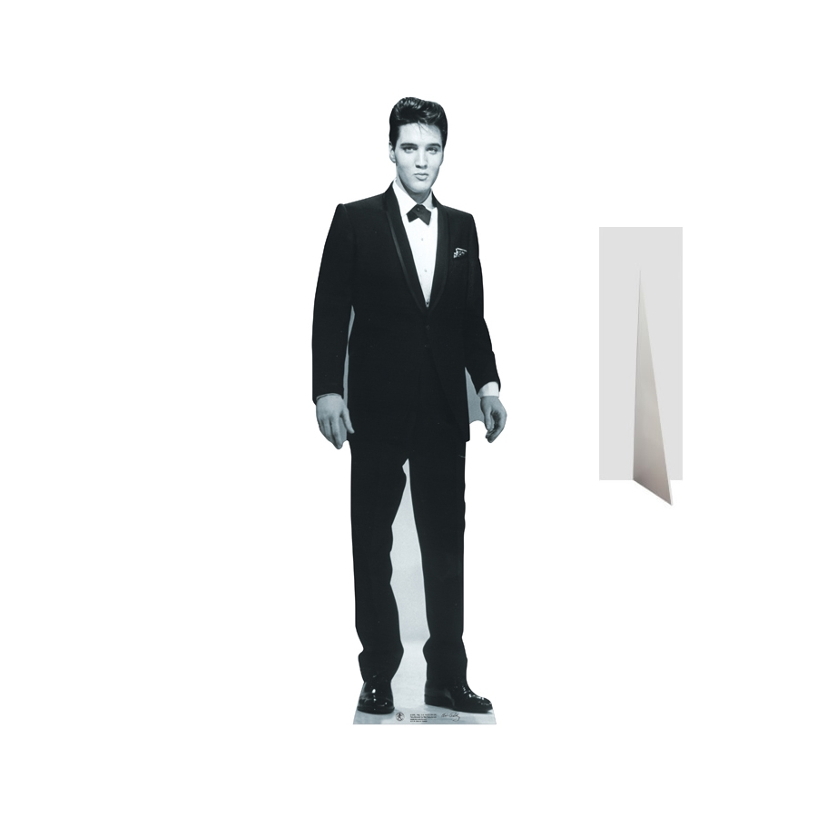elvis en costume noir et blanc carton plat. Black Bedroom Furniture Sets. Home Design Ideas