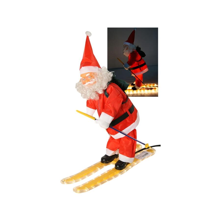 Image Pere Noel En Ski.Figurine De Pere Noel Sur Ski Lumineux