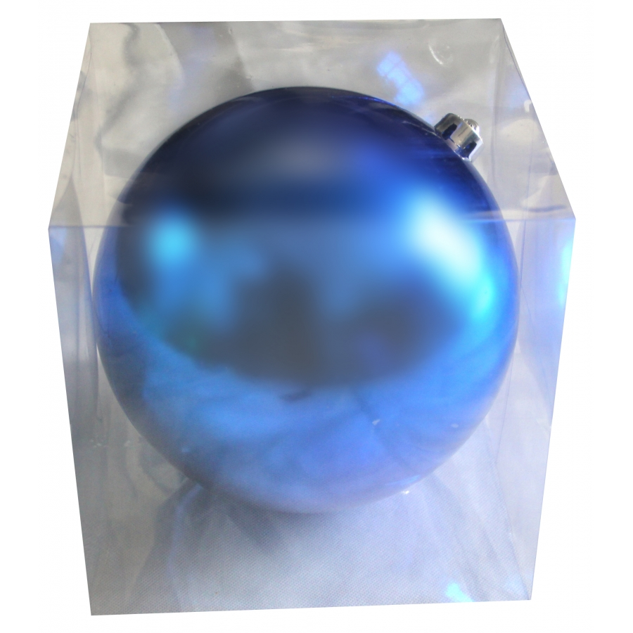 grosse boule de noel bleue brillante de 20cm. Black Bedroom Furniture Sets. Home Design Ideas