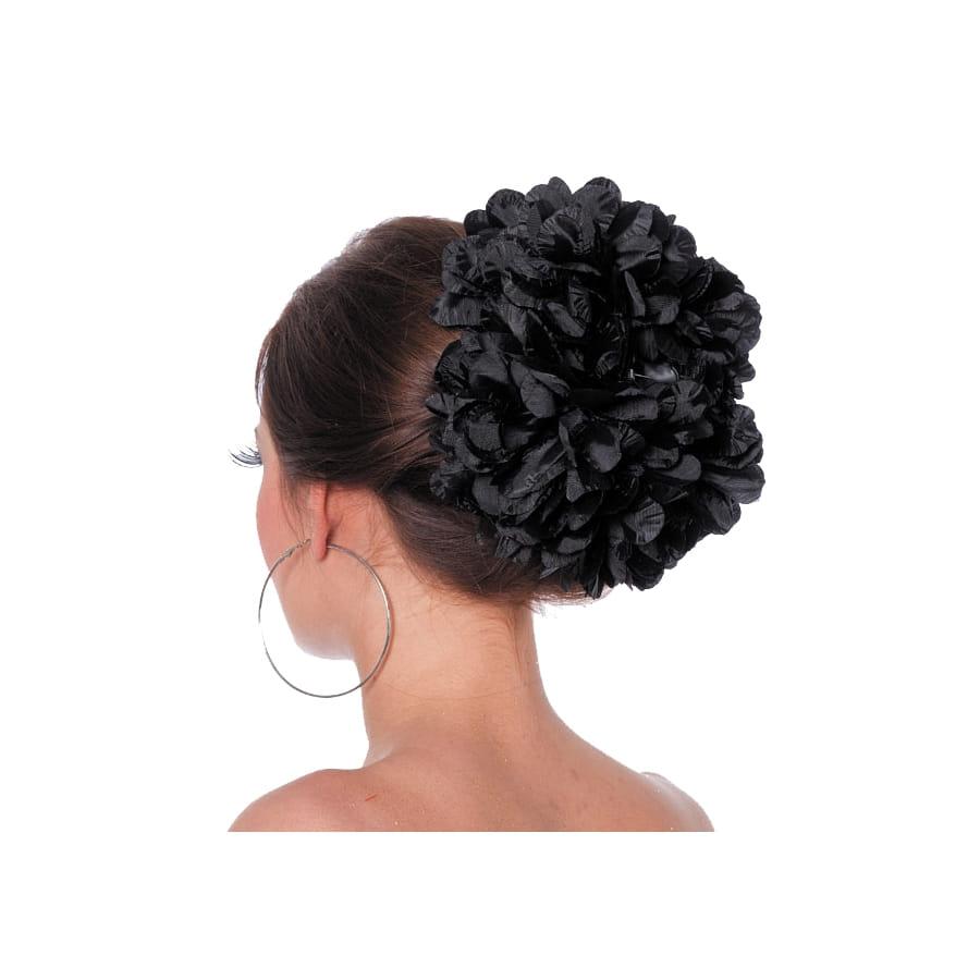 grosse fleur noire pour cheveux sur barette. Black Bedroom Furniture Sets. Home Design Ideas