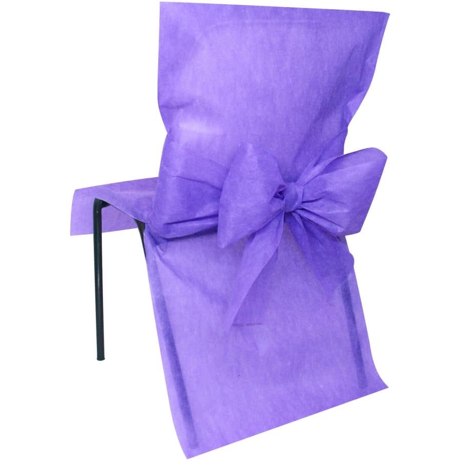 housses de chaise non tiss noeud lavande. Black Bedroom Furniture Sets. Home Design Ideas