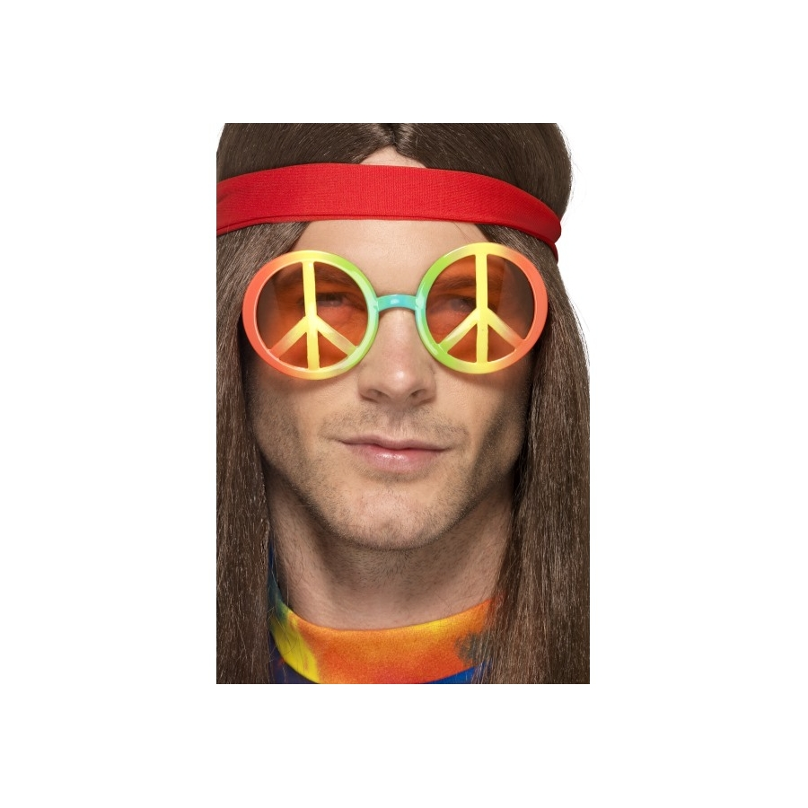 Lunettes avec symbole hippie, multicouleurs 4e98014a3854