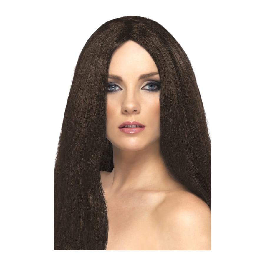Longue perruque brune lisse de 44 cm