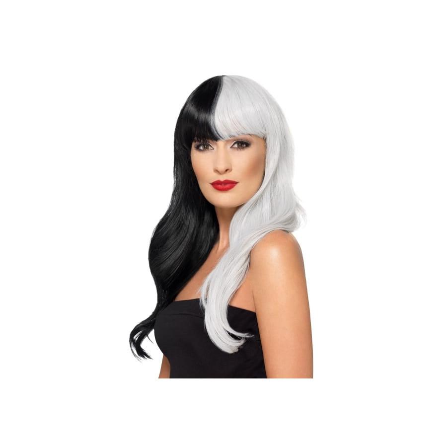 Longue perruque moitié noire moitié blanche