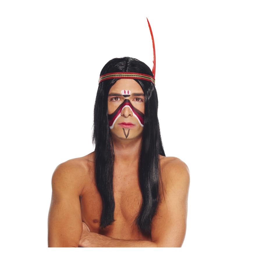 Longue perruque noire d'indien pour homme
