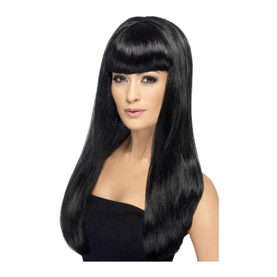 Longue perruque noire lisse avec frange