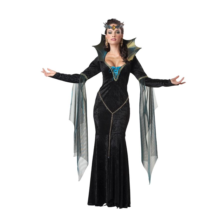Longue robe costume noire de la m chante reine - Robe disney adulte ...