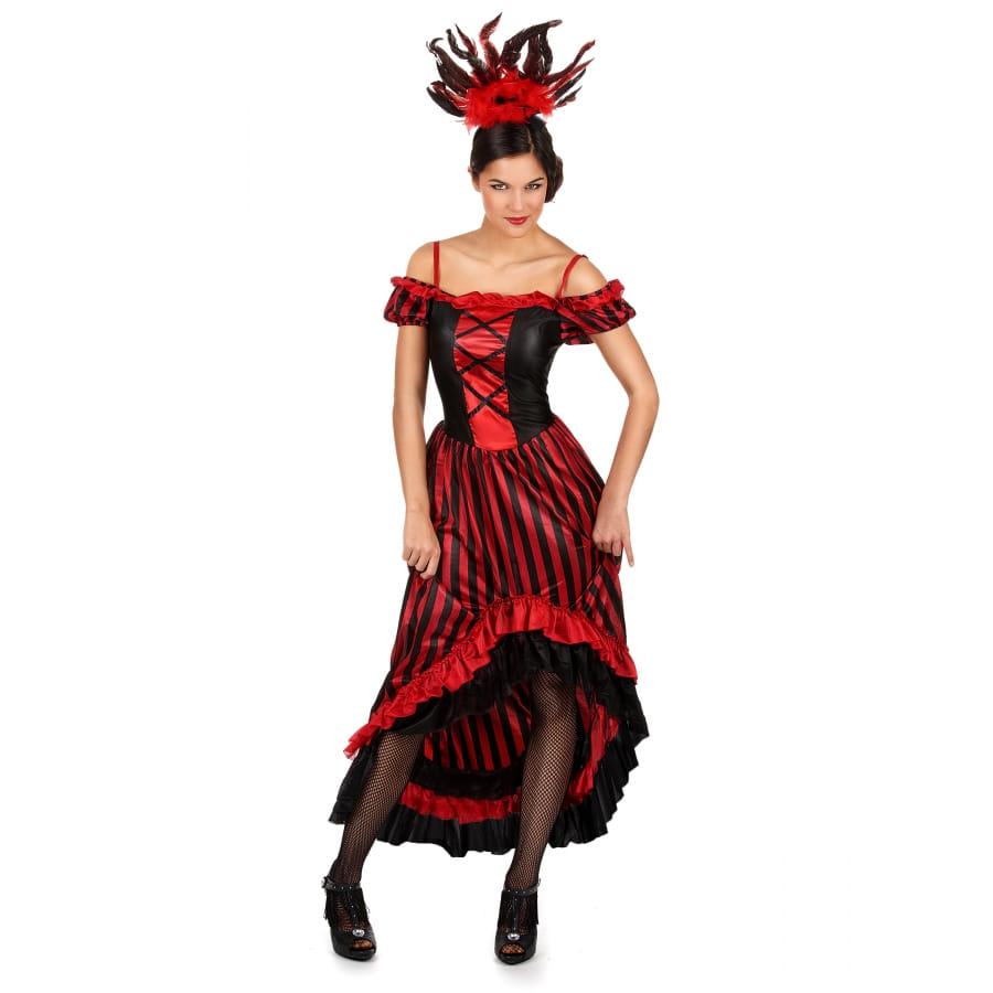 Longue Robe Noire Et Rouge De Danseuse De Cabaret