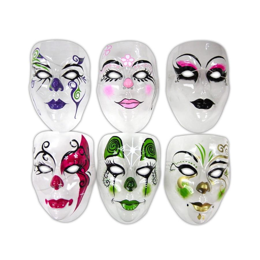 Masque transparent decore visage adulte assort for Decorer un masque blanc
