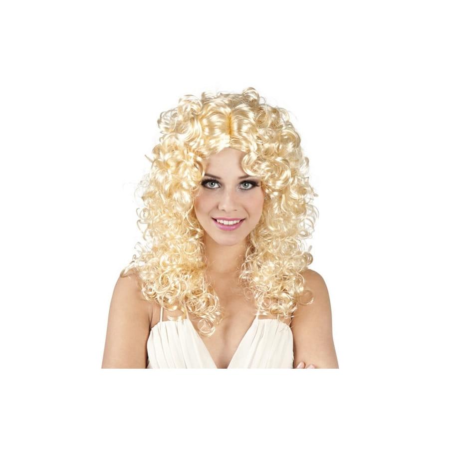 Perruque bouclée blonde mi-longue