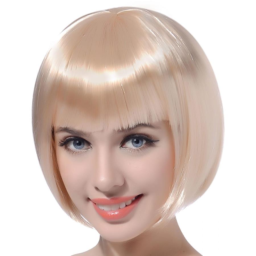 Perruque Blonde Carre Court Avec Frange Droite
