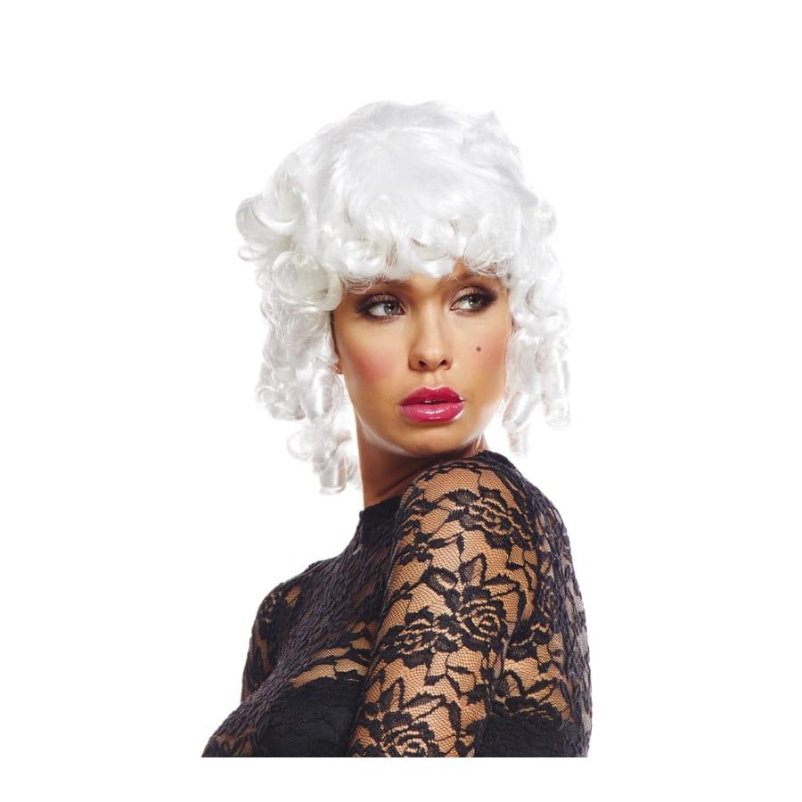 Perruque blanche de marquise pour femme