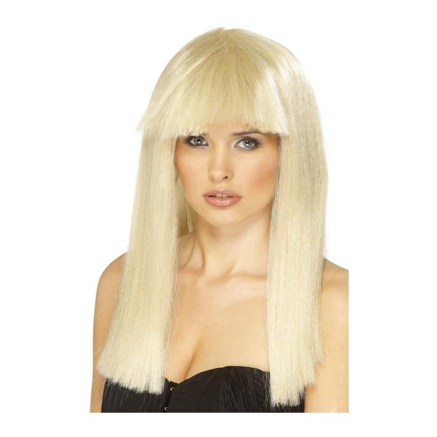 Perruque blonde frange