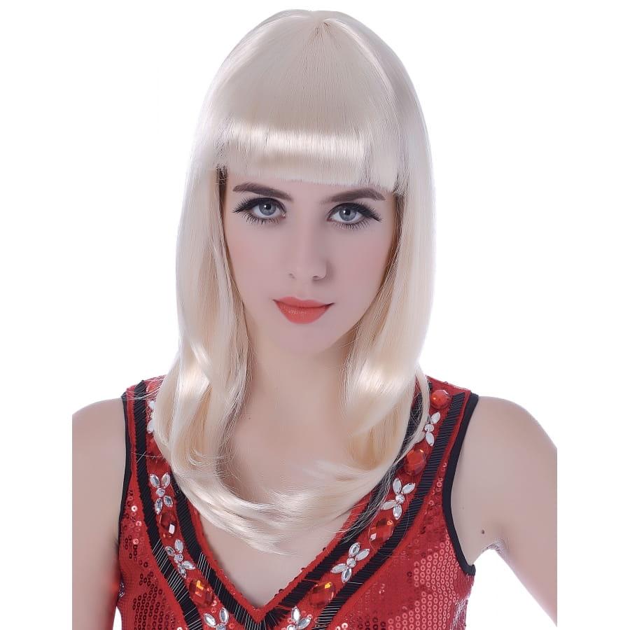 Perruque blonde mi-longue avec frange droite
