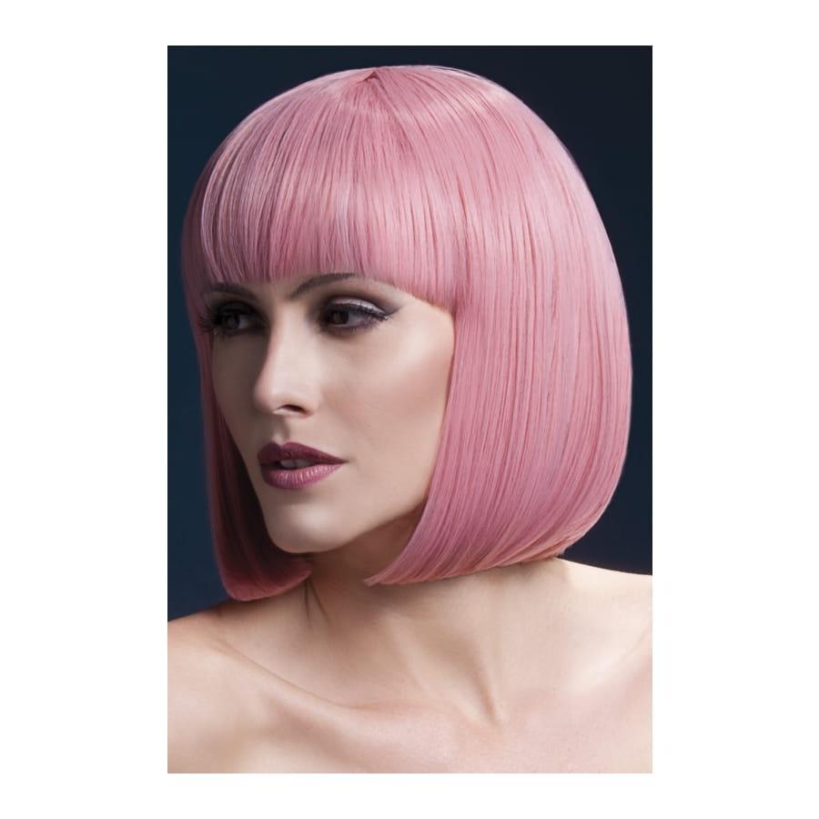 Perruque bob rose pastel élégante avec frange