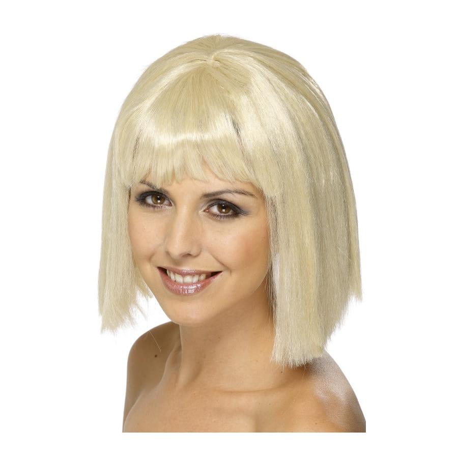 perruque carr blond mi long avec frange. Black Bedroom Furniture Sets. Home Design Ideas