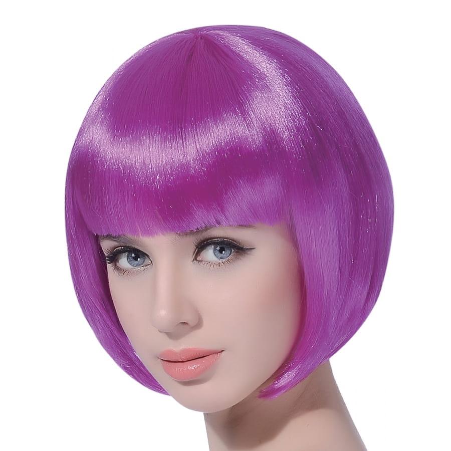 Perruque carré court violet avec frange droite