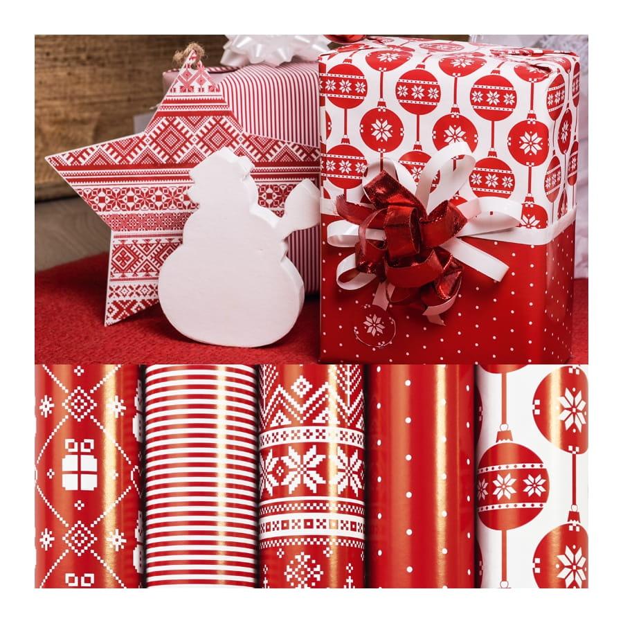 papier cadeau rouge motifs de no l. Black Bedroom Furniture Sets. Home Design Ideas